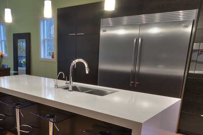 Quartz countertops are durable and come in a wide range of sizes.