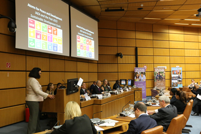 IAEA representatives discuss similarities between IAEA work and the UN Sustainable Development Goals during the 59th General Conference.