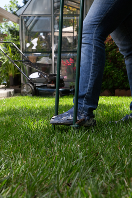 For those with small lawns, aerating can be accomplished with a pitchfork or similar tool.