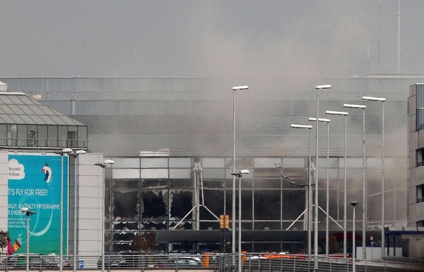 Explosions at Zaventem airport near Brussels on March 22, 2016.