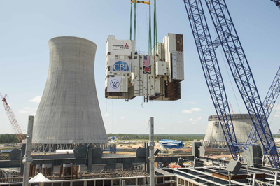 The Vogtle Unit 3 Module is moved into place.