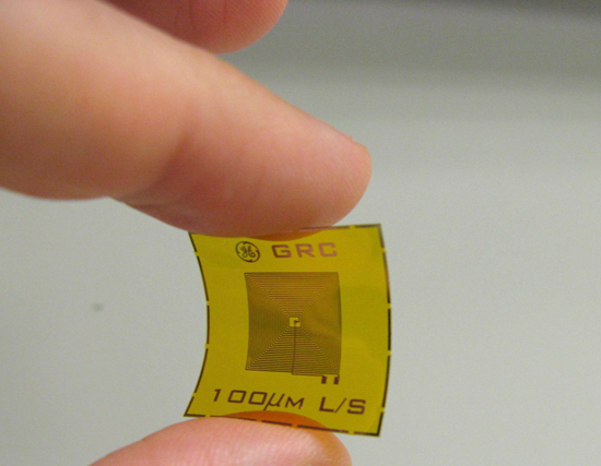 Pictured is an example of a wireless, battery-free RFID sensor tag for detection of chemicals such as explosives and oxidizers at very low concentrations. These sensors could aid in U.S. counter-terrorism efforts by providing advanced chemical and explosi