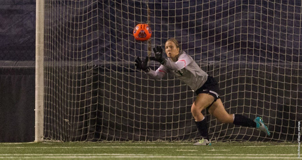 Kathryn McGregor makes a save during a game last season.