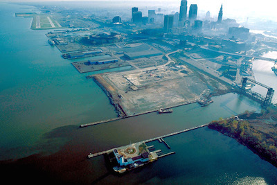 Aerial view of the port of Cleveland.