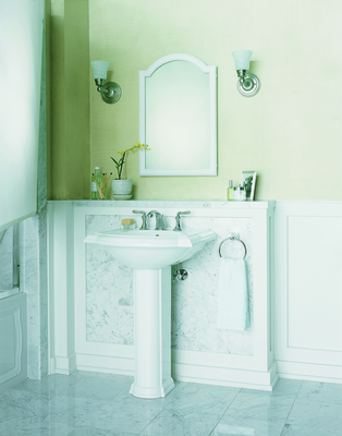The Devonshire Mirrored Cabinet and Devonshire Pedestal Lavatory from Kohler.