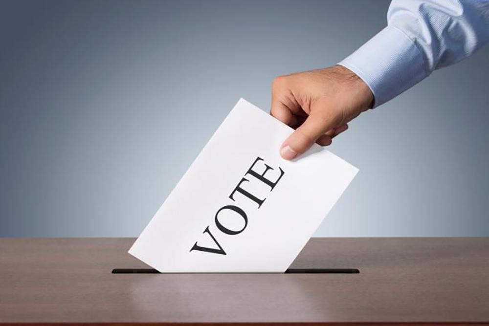 A man voting