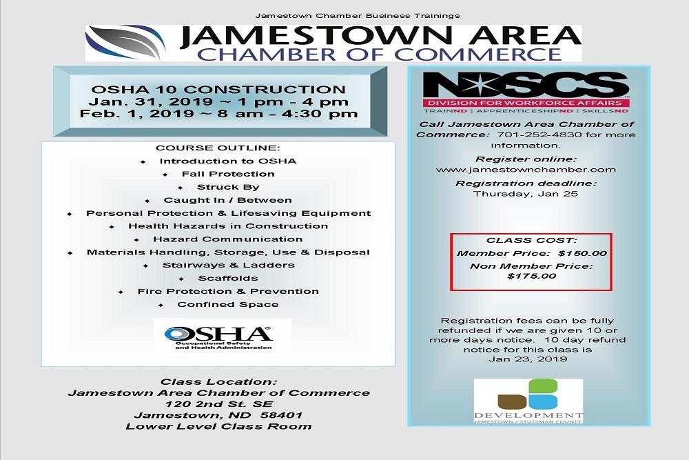 JAMESTOWN AREA CHAMBER OF COMMERCE: Business Training - OSHA