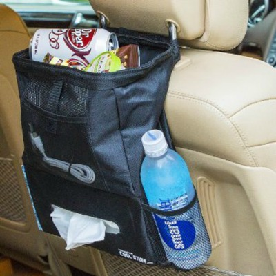 This trash bag is a multiuse product designed to keep a vehicle neat and tidy.