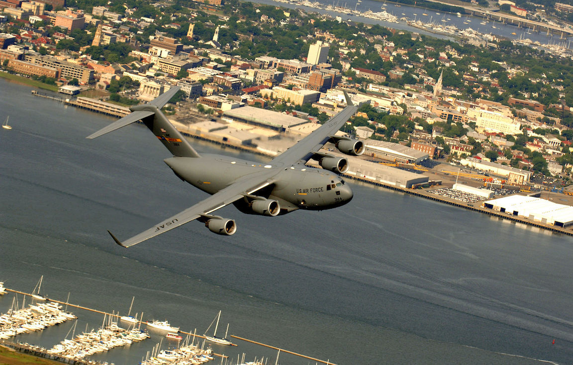 A C-17 Globemaster III from the 14th Airlift Squadron, Charleston Air Force Base, S.C., flies over downtown Charleston, S.C., during a training mission on Tuesday, May 16, 2006