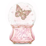 Breast Cancer Awareness Musical Butterfly Glitter Globe