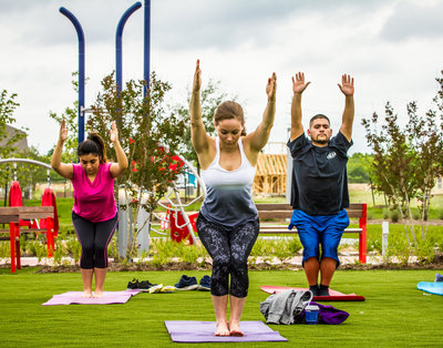 Enjoy yoga in the park.