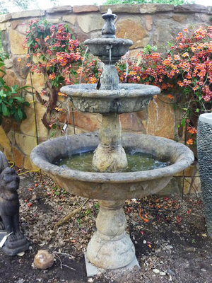 When adding a fountain to a garden, consider the size of the space and the intended function.