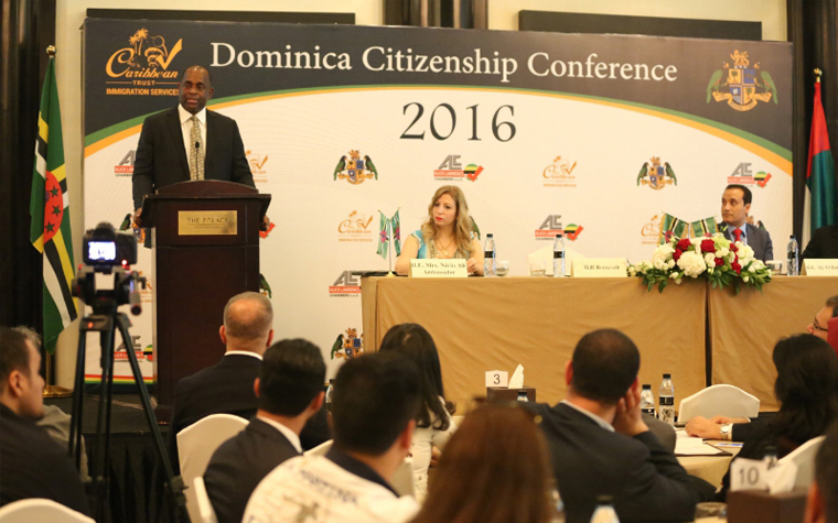 Prime Minister of the Dominican Republic, Roosevelt Skerrit speaks at the Dominican Citizenship Conference.