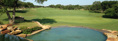 The 18-hole course at the Avery Ranch Golf Club offers gorgeous views of rolling hills and a large lake.