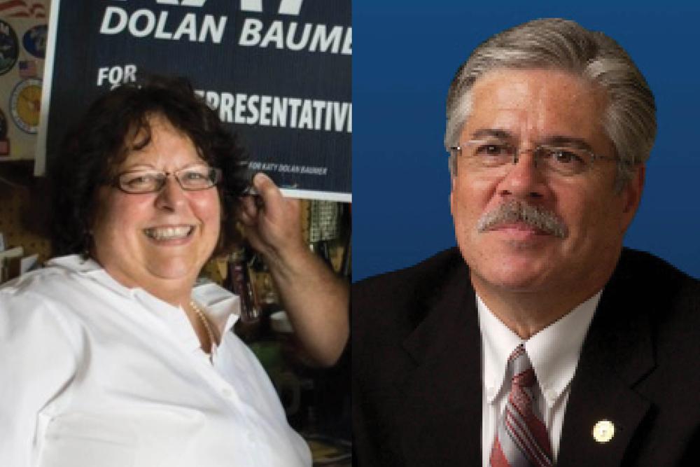 Katy Dolan Baumer, left, and Fred Crespo