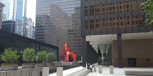 Large chicago federal courthouse flamingo from rear