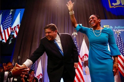 Now-Illinois Gov. J.B. Pritzker, shortly after his primary win in March of last year