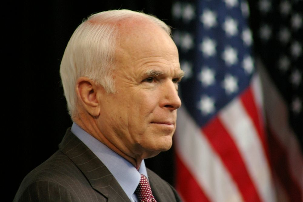 John McCain spoke about lessons he learned while at the Naval Academy.