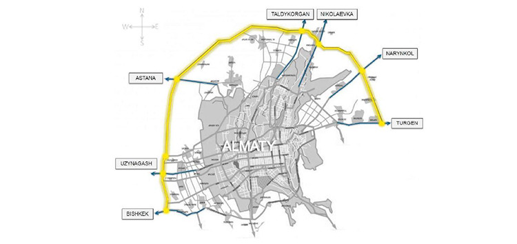 This map shows the circular road that will be built around Almaty, Kazakhstan.