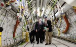 Deputy Defense Secretary Bob Work (center) tours a Boeing aircraft factory in Renton, Washington.