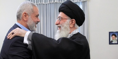 Hamas leader Ismail Haniyeh and Ayatollah Ali Khamenei during a 2012 visit to Tehran