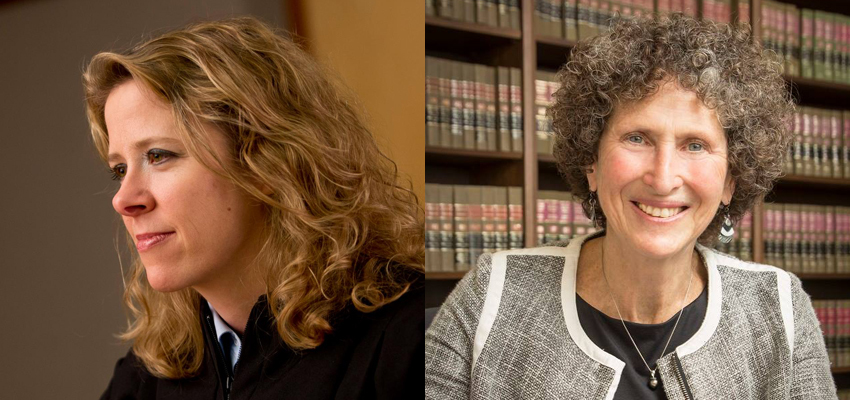 On the left, Justice Rebecca Bradley hears a case in 2012. On the right, Court of Appeals Judge JoAnn Kloppenburg poses in this undated photo. The two are running for Wisconsin Supreme Court in the April 5 election.