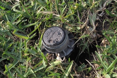 Closeup of a sprinkler head