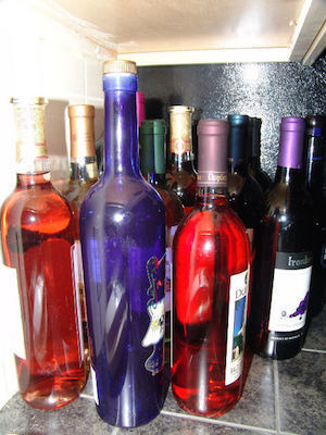 Large liquor bottles colorful