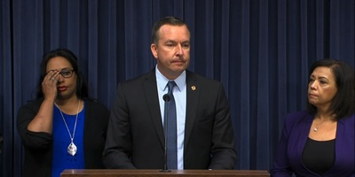 State Sen. Andy Manar (D-Bunker Hill), during his emergency press conference