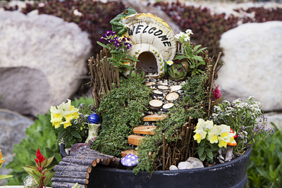 A fairy garden is a garden in miniature -- with or without fairy figures -- that is quite versatile.