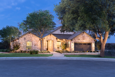 The exterior of the Scott Felder model at Santa Rita Ranch North is breathtaking.