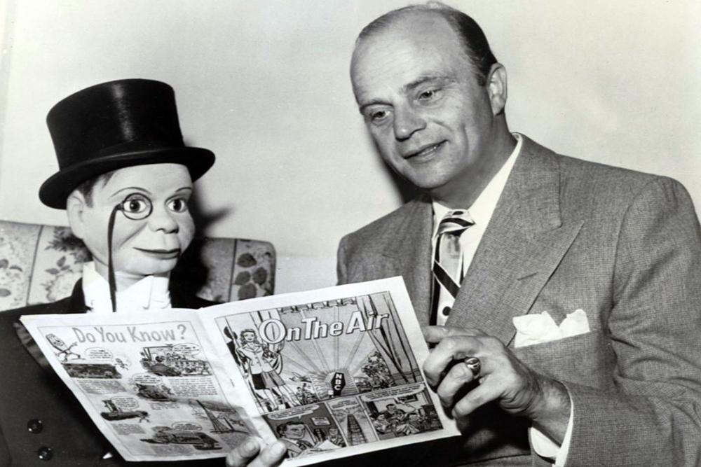 Ventriloquist Edgar Bergen with marionette Charlie McCarthy