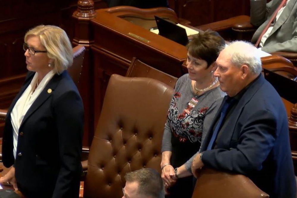 Sen. Sue Rezin (R-Morris) introduces special guests during the May 30 Senate floor debate