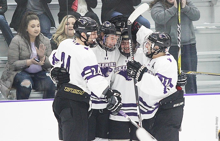 The McKendree University Bearcats celebrate a goal during a game last season.
