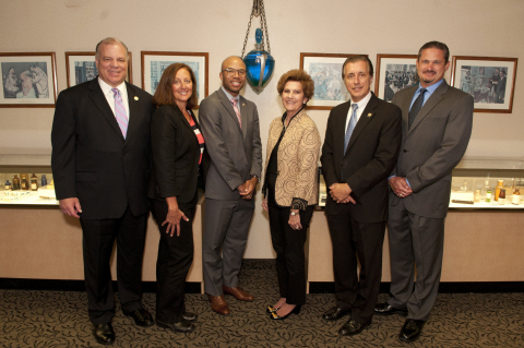 From left: New Jersey Senate President Stephen Sweeney; Marcy Bliss, president of Wedgewood Pharmacy; Assemblyman Adam Taliaferro; Lucy Malmberg, CEO of Wedgewood Pharmacy; Assemblyman Adam Taliaferro; and Anthony Grzib,  director of pharmacy compliance a