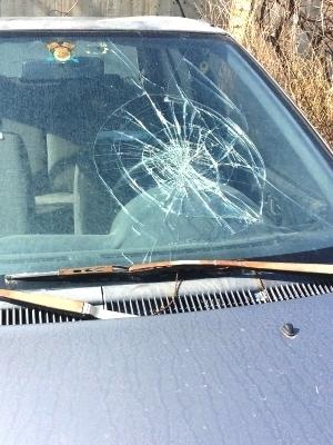 Large windshield cracked