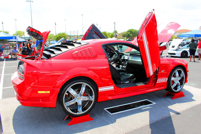 Tricked out cars like this custom Mustang are the mainstays of the annual show in Kyle.
