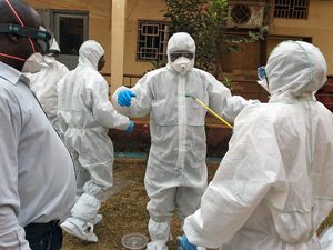 Participants during a training session on working with Ebola in a safe manner