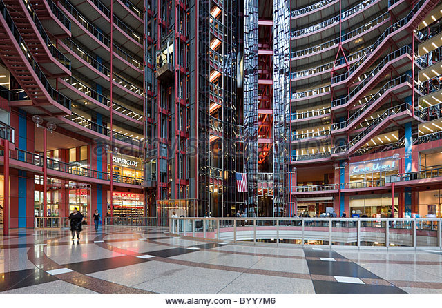 The atrium of the Thompson Center in Chicago. The Center houses offices of the Illinois state government.