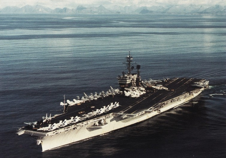 The U.S. Navy aircraft carrier USS America (CV-66) off Norway in 1991.