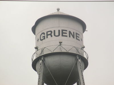 The Gruene water tower overlooks the Guadalupe River.