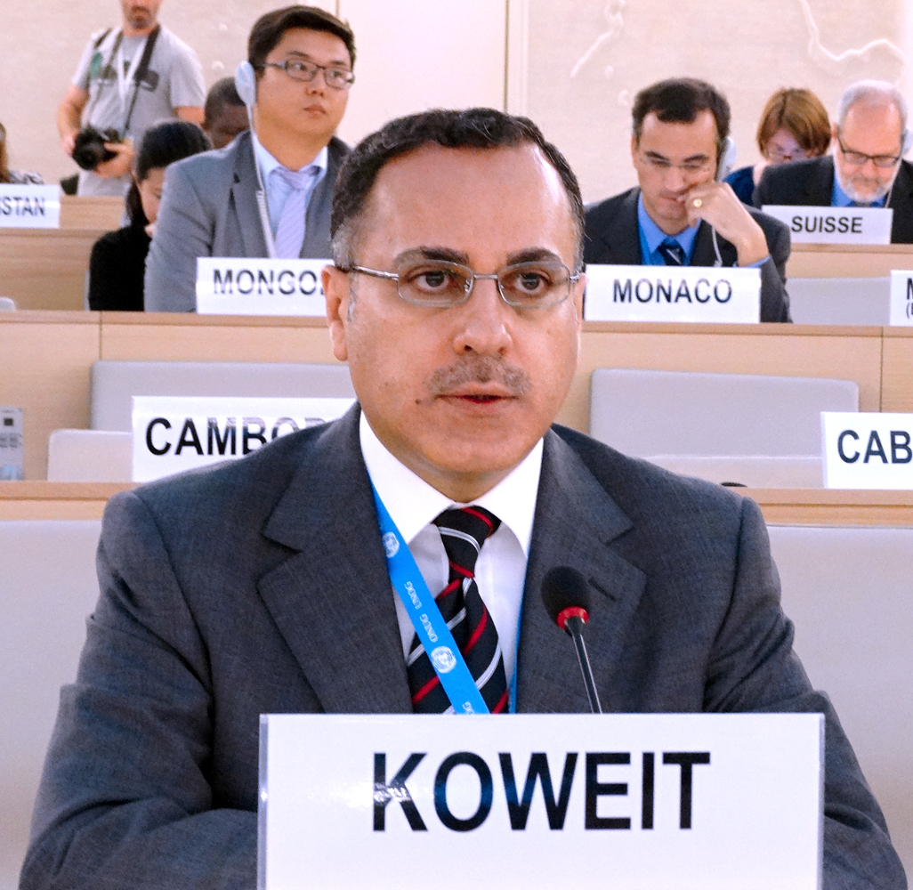 Kuwait's permanent delegate to the U.N. and International Organizations in Geneva Ambassador Jamal Al-Ghunaim speaks in Geneva this week during meetings with fellow BTWC member nations' envoys.