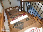Old wooden crates lend themselves to creative restyling on a stairway.