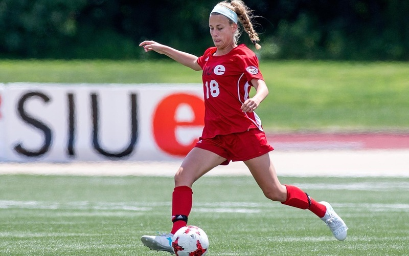 SIUE's Rachael Brots kicks the ball during a game.