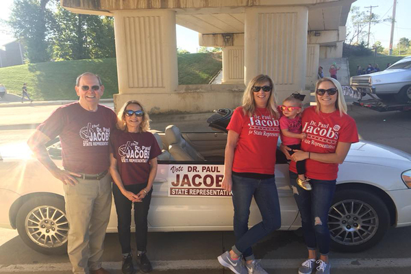 Paul Jacobs with supporters