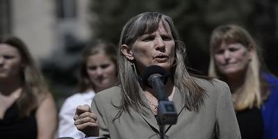 Boulder County Commissioner Elise Jones announces the county's climate change lawsuit against Exxon and Suncor