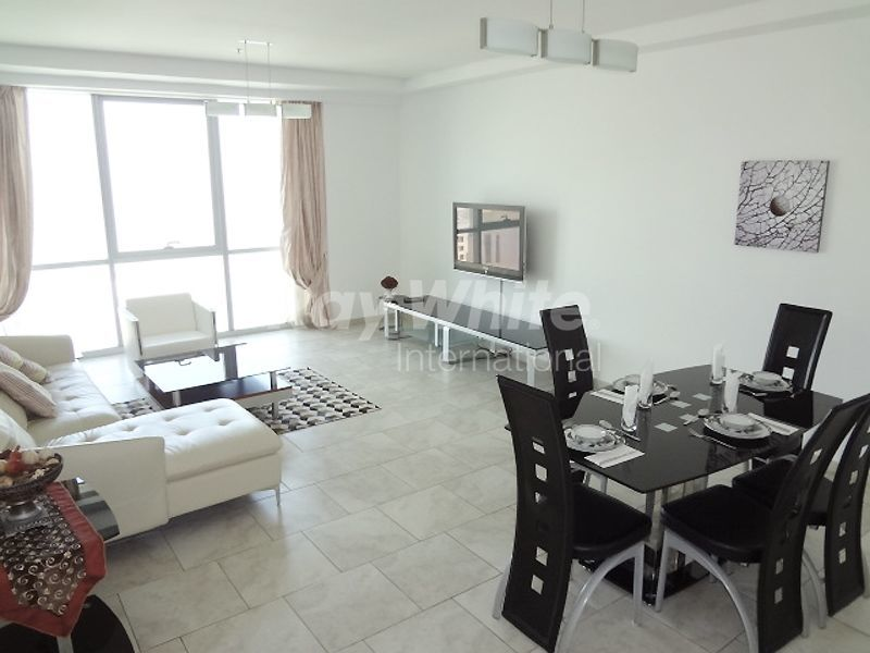 Living space in a luxurious three bedroom apartment in the Dubai Marina area