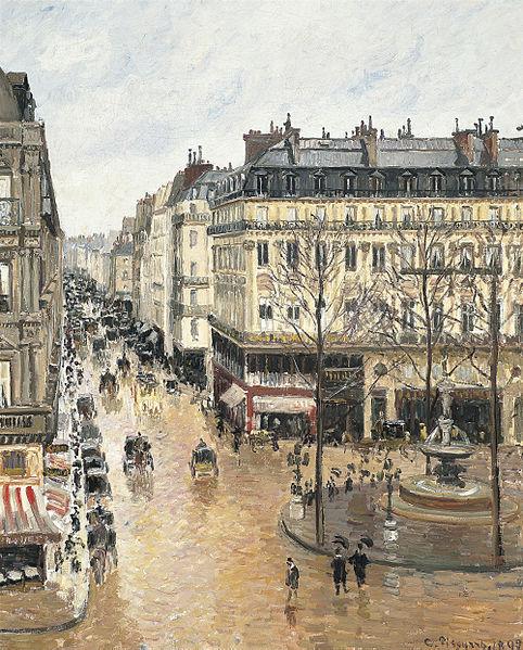 The painting stolen by Nazis during the Holocaust, Camille Pissarro - Rue Saint-Honoré, dans l'après-midi. Effet de pluie.jpg