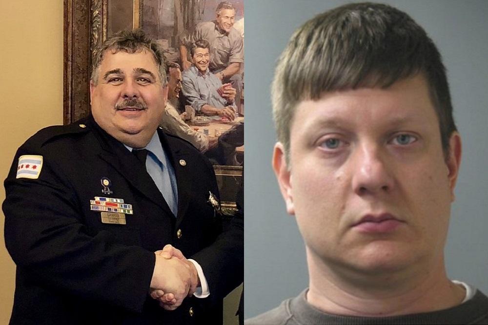 Chicago Fraternal Order of Police President Kevin Graham, left, and the mug shot of Chicago police Officer Jason Van Dyke.