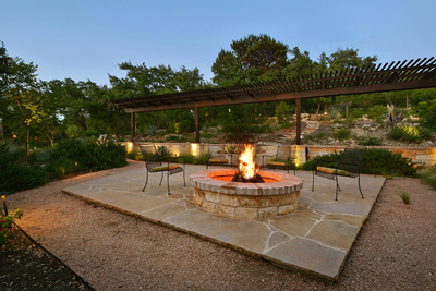 A fire pit installed in a patio can extend outdoor enjoyment into cooler months.